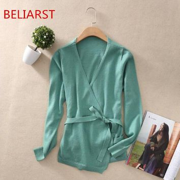 BELIARST Spring NEW thin Wool Cardigan short section knitted Cardigan Women outside V collar long sleeves Sweater Slim jackets