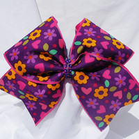 Cheer bow- Purple with neon flowers  with rhinestone center bow- cheerleader bow- cheerleading bow- dance bow- softball bow- cheerbow