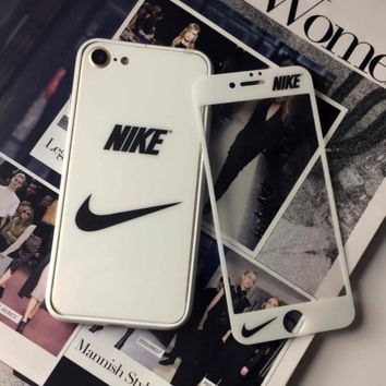 Apple 7 steel membrane nike iphone6 plus full-screen coverage phone membrane 4.7 before and after 5S White