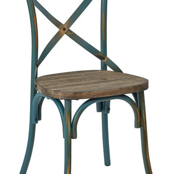 OSP Designs Somerset X-Back Antique Turquoise Metal Chair with Hardwood Rustic Walnut Seat Finish