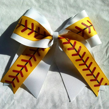 Softball Bow,Softball Hair bow, baseball hair bow, big ribbon bow