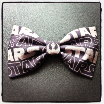 Dark Grey Star Wars print handmade fabric bow tie or hair bow