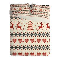 Natt Knitting Red Deer White Hearts Sheet Set Lightweight