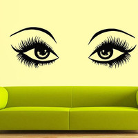 Eyes wall decal, Hair Style Salon wall decal, make up stickers, Girl Fashion All eyes wall stickers, beautiful eyes wall decal/i29
