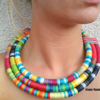 Colorful necklace, African jewelry /African fabric necklace