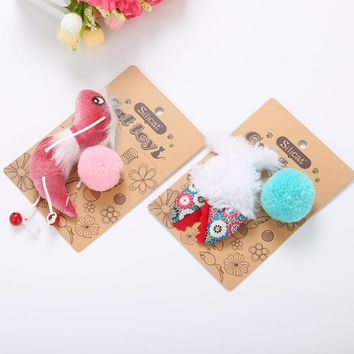 Sound Bell Bird Fish Shape Catnip Cats Toy Funny Cat Interactive Scratching Toys Kitten Soft Ball Feather Toy Pet Supplies