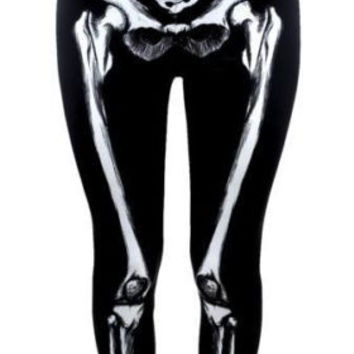 Realistic Skeleton Leggings Anatomical Bones Trouser Pants