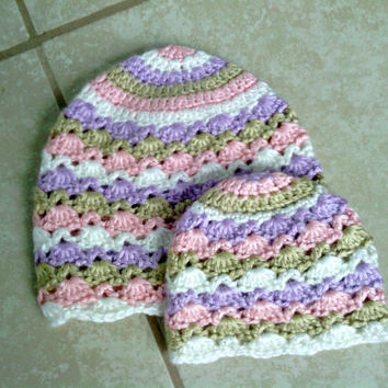 Crochet Lace Beanie, Handmade Toddler Hat, Lacy Premie Beanie, Shell Hat, Girls Hat