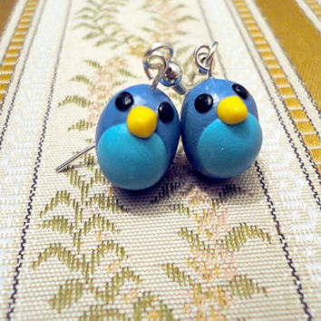 Blue bird earrings size small handmade from blue by NellinShoppi
