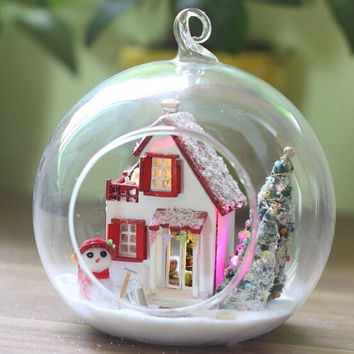 G010 diy wooden doll house miniature glass ball with voice lights Christmas gift dollhouse villa wood free shipping
