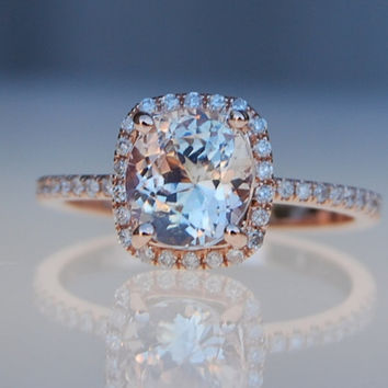 1.78ct cushion ice peach champagne sapphire 14k rose gold diamond ring engagement ring