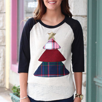 Plaid Christmas Tree Appliqué Raglan {Black}