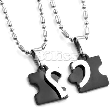 SHIPS FROM USA Titanium Stainless Steel Love Combining puzzle Necklaces heart Pendant for Couple Lovers Two color Blue Black one pair