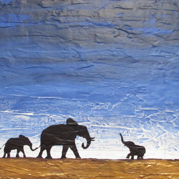 elephant good luck animal african art landscape painting canvas wall nursery decor pop abstraction contemporary african animal 16 x 20""