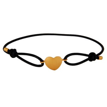Sterling Silver Gold Plated Heart Charm Bracelet With Adjustable Black Silk Cord