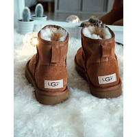 """UGG"" Winter Popular Women Ankle Wool Warm Snow Boots Brown I/A"