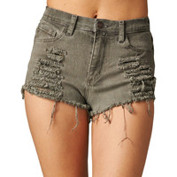 Charcoal Oil Wash Denim Shorts