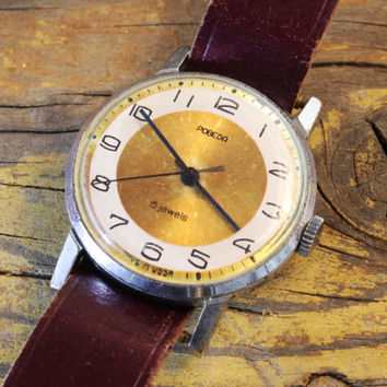 Vintage Pobeda mens watch sunburst gold dial russian watch ussr cccp