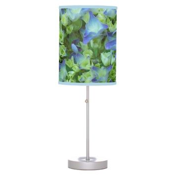 Hydrangea Blooms Floral Photo Table Lamp