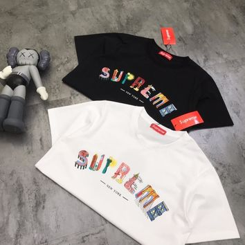 """""""Supreme"""" Unisex Casual Fashion City Letter Print Short Sleeve Couple T-shirt Tops Tee"""