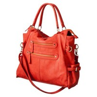 Satchel with Zippers - Coral