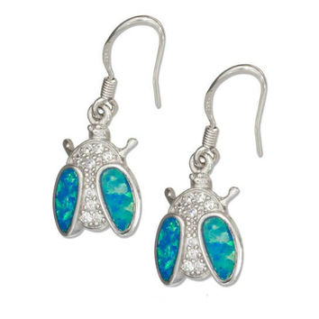 Sterling Silver Cubic Zirconia and Blue Opal Ladybug Earrings
