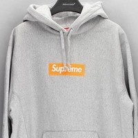Supreme Trending Unisex Personality Women Logo Print Casual Hoodie Long Sleeve Sweater 8-Color Grey