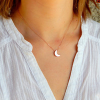 Small rose gold puffy moon necklace, crescent, tinny moon necklace, gold moon necklace, small charm necklace, tinny moon, sexy necklace 501