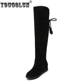 YOUGOLUN women thigh high boots ladies autumn winter snow boots woman over the knee boots women 2017 thick plush warm shoes