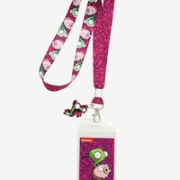 Licensed cool Invader Zim Gir Riding Pig ID Lanyard Neck Strap With Rubber Charm Nickelodeon