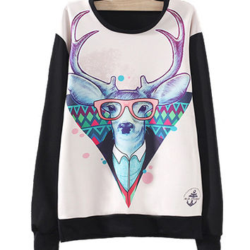 Black Cartoon Deer Print Sweatshirt