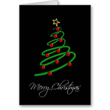 Merry Christmas Spiral Holiday Tree Greeting Card