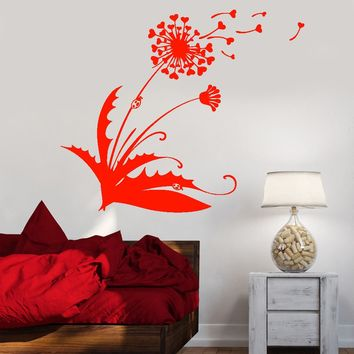 Vinyl Wall Decal Dandelion Blowball Flower Hearts Love Ladybug Stickers Unique Gift (1694ig)