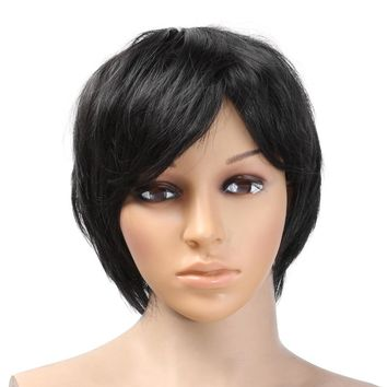 Natural Black Full Bangs Long Half Curly Hair Wig Heat Resistant Hair