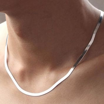 PATICO Silver Necklace Chain Clavicle Silver Necklaces Unisex Accessories Jewelry Flat Snake Chain Necklace Fast Free Shipping