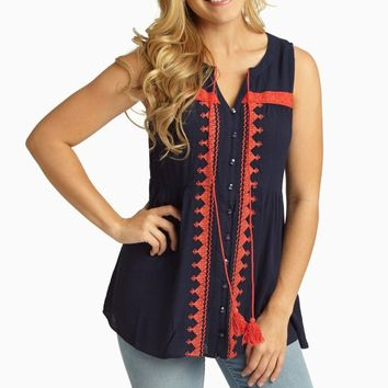 Navy Coral Embroidered Button Up Linen Tank Top
