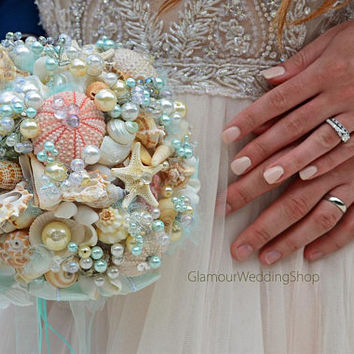 Beach Shell Bouquet Starfish Bouquet Beach Wedding Bouquet Seashell Wedding Bouquet Boutonniere