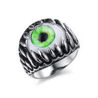 Eye-Ball Opal Inlay Stainless Steel Men Ring