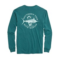 Fish Series Blue Marlin Heathered Long Sleeve T-Shirt in Heather Dark Teal by Southern Tide - FINAL SALE