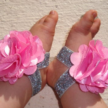 Baby Barefoot Sandals - Pink Silver Sparkle Piggy Petals - Toe Blooms - Photo Props - Baby Shoes - Toddler Shoes - Newborn Shoes