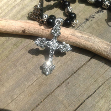 Rear view mirror charm. A cross with silver and black beads to hang in your car. Rosary look,  Catholic Christian cross charm
