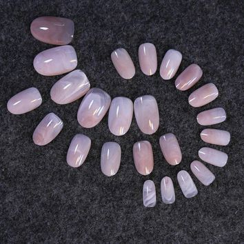 Light Pink Purple Smooth Marble Texture False Nails Full Wrap Nail Art Tips Press on Nail Easy DIY Middle Round Head Z223
