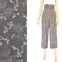 Vintage 90s Floral Print Palazzo Pants Gaucho Pants Black and White High Waist S Sale 50% off
