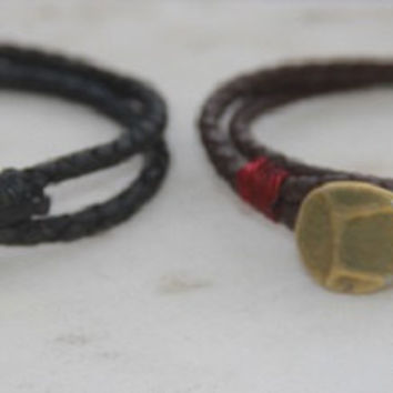 Pewter Hammered Button Charm Bracelet on wrap Spanish Leather Cord, surfer, Friendship