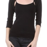 Amazon.com: New Sexy Cropped Shrug 3/4 Fitted Sleeve Womens Knit Sweater Jacket: Clothing