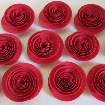 "Red paper Flowers 12 small Roses 1.5"" blossoms DIY projects quilled paper floral decor birthday party decorations graduation gift"