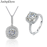 AndyChen Crystal Bridal Jewelry Sets for Women Square Silver Plated Necklaces & Pendants Wedding Ring Bijoux Femme MJS013