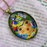 FRIDA Kahlo and Fruits Antique Bronze Glass Tile Oval PENDANT NECKLACE with chain by LuLu
