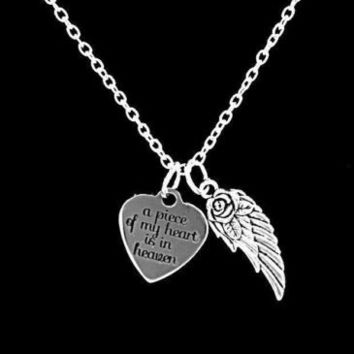 A Piece Of My Heart Is In Heaven Guardian Angel Wing Remembrance Charm Necklace