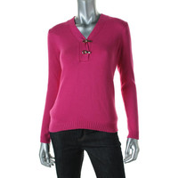 Charter Club Womens Petites Knit V Neck Pullover Sweater